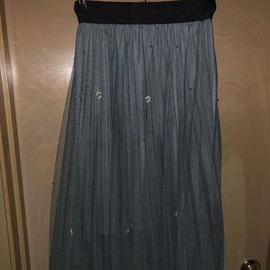 Gray with pearls tulle skirt